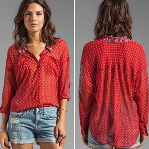 Free People Tops - Free People Easy Rider Button Down in Red Bandana